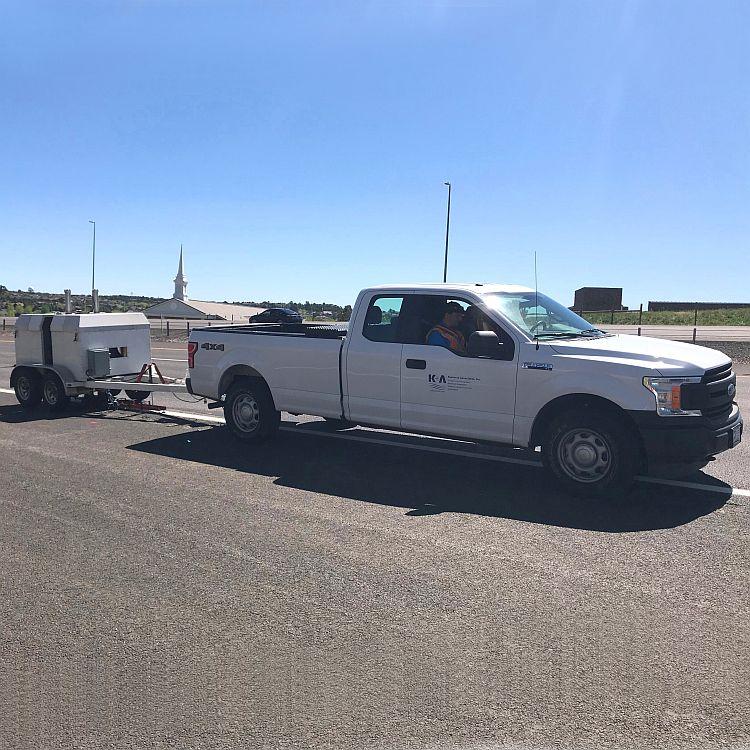 White truck driving